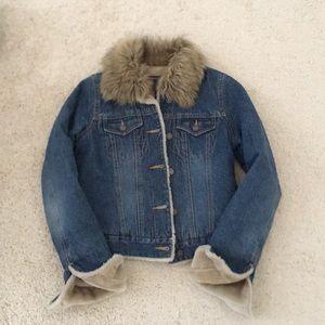 Faux Fur lined winter denim jacket